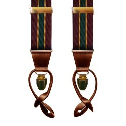 Leyva suspenders, Burgundy-Green