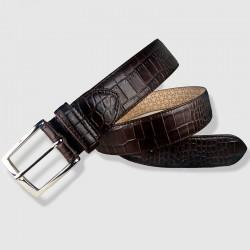 Cinturón de piel marrón 35mm Grabado de cocodrilo