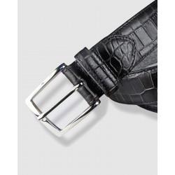 Cinturón de piel negro 35mm Grabado de cocodrilo