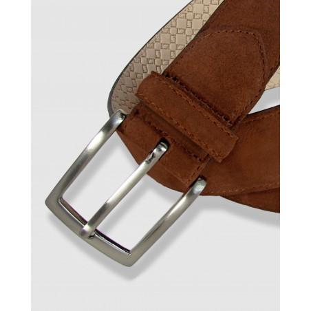 Cinturón de piel coñac 35mm Afelpado