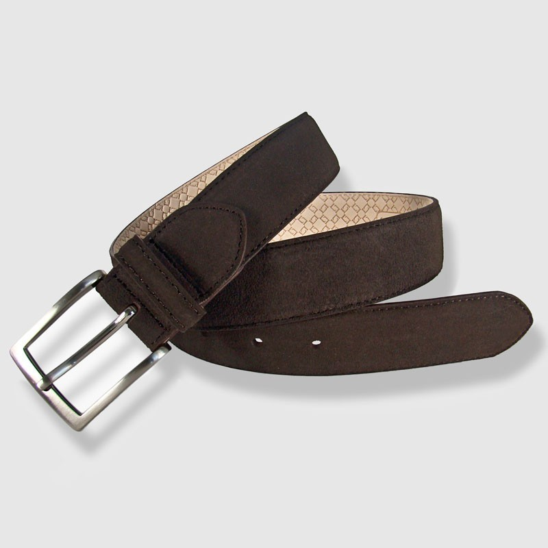 Cinturón de piel marrón 35mm Afelpado