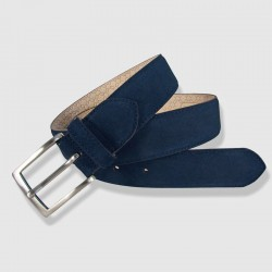 Leather Belt, navy color, 35mm Napped