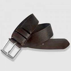 Cinturón de piel marrón 35mm, abatanado