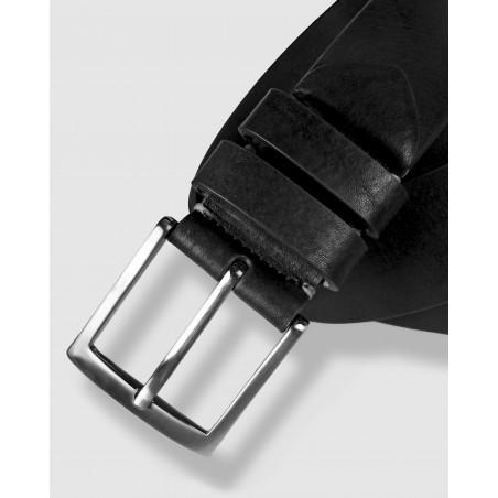 Cinturón de piel negro 35mm, abatanado