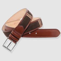 Cinturón de piel marrón y coñac