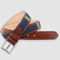 Cinturón de piel marino y coñac