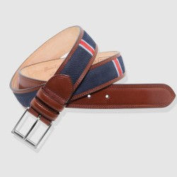 Leather Belt, navy and cognac color
