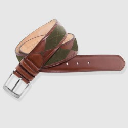 Leather Belt, green and...