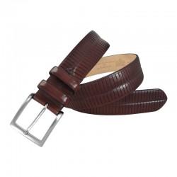 Cinturón de piel  rayado de...