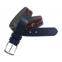 Leather Belt with green print