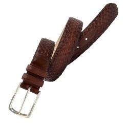 Cinturón trenzado de piel...