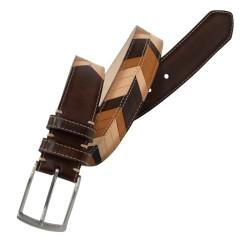 Cinturón de piel de Vaqueta en 3 tonos de hombre LEYVA