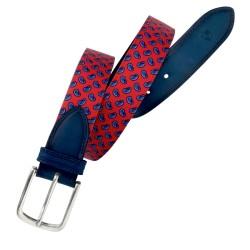 Cinturón de textil y piel LEYVA