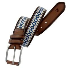 Cinturón de algodón y piel LEYVA