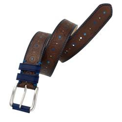 Cinturón de piel de vacuno con grabado LEYVA